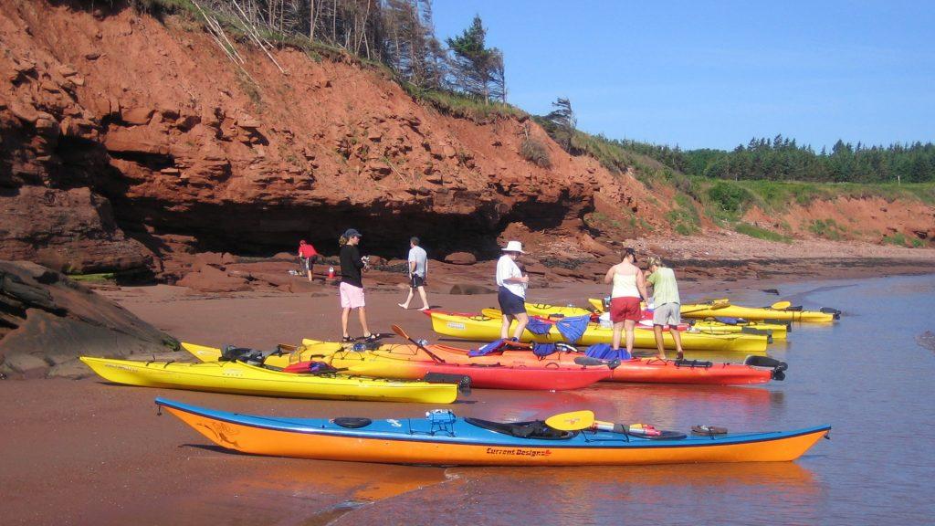 group below red cliffs